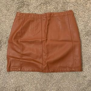 Brown Faux Leather Mini Skirt